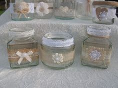 Rustic Shabby Chic Wedding Decorated Table Small Tea lights Jars x 15