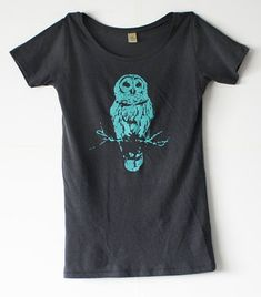 Owl TShirt - Grey Alternative Apparel - Turquoise Blue ink -  Organic  - Women - Small, Medium, Large, Extra Large - mystical - harry potter on Etsy, $28.65 AUD