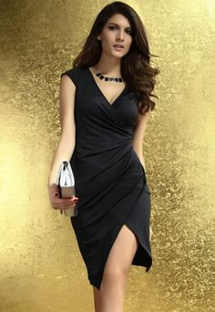 Cheap Excellent Cheap Ruched Wrap Midi Dress