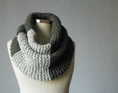 Knitted+Cowl+Scarf+Neck+Warmer+dark+grey+ice+white+by+yarnisland,+$40.00