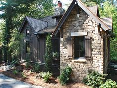 Cabins - Mountainworks Custom Home Design in Cashiers, NC Stone Cottages, Cabins And Cottages, Stone Houses, Small Cottages, Cottage House Plans, Small House Plans, Cottage Homes, Cottage Farmhouse, Cottage Ideas