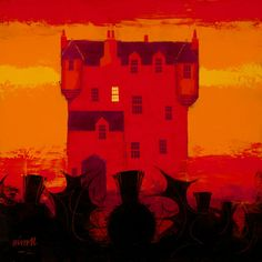 George Birrell - Thistles, Castle, Sunset mixed media