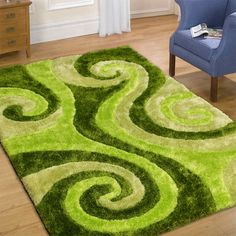 """AllStar Rugs Shaggy Area Rug with 3d Spiral Design, Hand Tufted. Size: 7'6"""" x 10'5"""""""