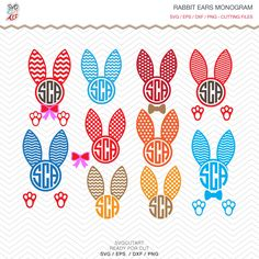 Rabbit Ears Easter Monogram SVG DXF PNG eps frame bunny Cut File for Cricut Design, Silhouette studio, Sure Cuts A Lot, Makes the Cut by SvgCutArt on Etsy