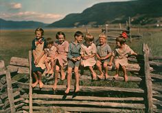 A happy family: seven siblings sit on a wooden fence in Quebec, Canada, May (Photo: Howell Walker, National Geographic) Wooden Fence, National Geographic Photos, Portraits, Vintage Photographs, Vintage Images, Vintage Children, Quebec, Belle Photo, Siblings