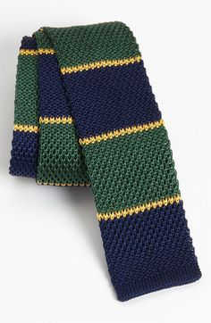 The Tie Bar 'School Stripe' Knit Tie available at Mens Knitted Scarf, Knit Tie, Groom Suspenders, Groom Suits, Groom Attire, Informal Attire, Ivy League Style, Tie Crafts, Knitting Accessories