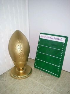 Our fantasy football trophy and plaque. The plaque will have engraved plates each year for the winner. So easy to make and personalize!
