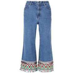 Alice + Olivia 'Beta' zigzag stripe embroidered cropped wide leg jeans ($465) ❤ liked on Polyvore featuring jeans, bottoms, blue, cropped jeans, wide leg jeans, embroidery jeans, blue jeans and boho jeans