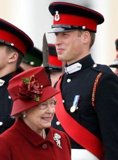 Prince William in uniform as his grandmother the Queen Elizabeth II walks by on parade.JPG
