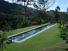 modern lap pool surrounded by perfectly manicured lawn and with great views
