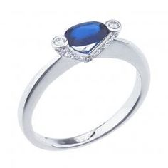14K White Gold 6x4 Oval Sapphire and Diamond Modern Precious Ring