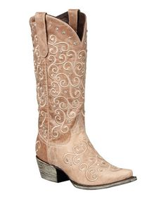 Loving this Tan & Champagne Willow Studded Leather Cowboy Boot on #zulily! #zulilyfinds