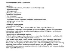 Jim Bob and Mae Recipe of the Day   Mac and Cheese with Cauliflower   http://www.dailyrecipedoctor.com