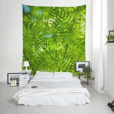 Green tree wall tapestry, Foliage wall decor, Green tapestries, Boho wall art, Home decoration. Wall Tapestries, Tapestry, Affordable Wall Art, Tree Wall Decor, Green Trees, Printing On Fabric, Interior Decorating, Indoor, Boho