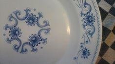 French vintage milkglass plate Rivanel...Blue / by ImagedeVintage