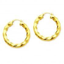 14K Gold Polished 5.0mm Twisted Hoop Earrings