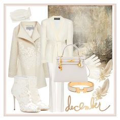 """""""Snow queen"""" by rjackalyn ❤ liked on Polyvore featuring Mulberry, Dolce&Gabbana, Cappellino Millinery, Balmain, Hermès, William Sharp, white, hermes, ivory and kelly"""