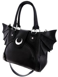 Bat night and Moon Bat wings PU leahter Black Gothic Handbag