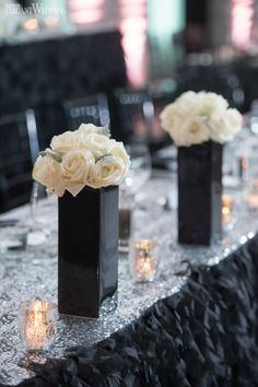 """Wedding ideas for a Black & White Themed wedding Toronto wedding planner Fab Fête Event Planning Boutique brought bride Alyssa's vision of luxury to life with glamorous, sexy and """"Fancy"""" decor forher wedding to high school sweetheart Vincent. Black and white were the primary colours used, a combination of high and low centrepieces with white …"""
