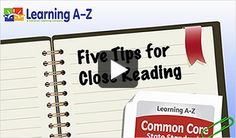 reading Common Core - 5 Tips for Close Reading video 2nd Grade Reading, Kindergarten Reading, Teaching Reading, Guided Reading, Learning, Reading Centers, Reading Workshop, Close Reading Strategies, Teaching Strategies