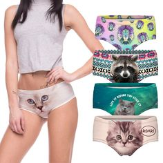 a0bc259d7950d Sexy Panties 2016 Wholesale Pink 3d Print Cat Cotton Underwear Women  panties Seamless Briefs ropa interior
