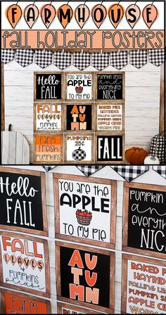 elementary classroom decor Easily decorate your room for fall with these farmhouse inspired fall holiday posters! You and your students will love these trendy seasonal poster High School Classroom, Classroom Walls, Kindergarten Classroom, Classroom Themes, Future Classroom, Seasonal Bulletin Boards, Inspirational Classroom Posters, Fall Classroom Decorations, Gymnasium