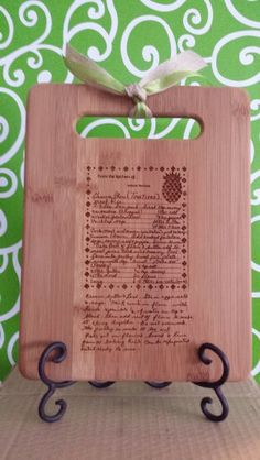 Scan a favorite recipe & have it carved on a bamboo  cutting board!  3D Carving--  www.3dcarving.com Size: 11 x 8.5 Price: $33 plus shipping ($8)