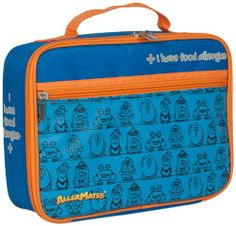 AllerMates BPA Free Lunch Bag with Durable Water Resistant Shell and Zippered Pocket, I Have Allergies Blue