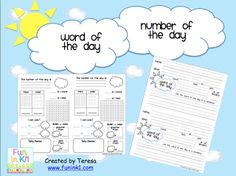 Classroom Freebies Too: Number and Word of the Day
