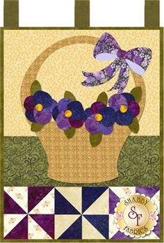 """Full Set of 12 patterns available here - buy all 12 and save 20%!  Let the Little Blessings bring you cheer all year long! Jennifer Bosworth of Shabby Fabrics has created this wallhanging series using some of her favorite designs from previous quilts as well as adding new ones! This pattern is for the Pansies For Mom design. Wallhanging measures 12"""" x 18"""" and hangs from a darling dowel hanger (not included - available separately below - separate $4 US/$6 International shipping charge…"""