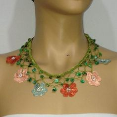 Salmon Pink Burnt Orange and Green Choker Necklace by istanbuloya