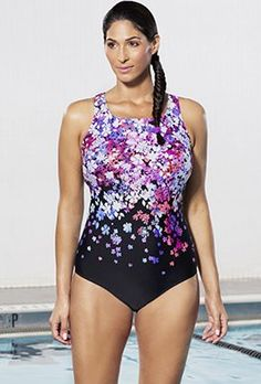 aa7643bd0ac One Piece - Aquabelle Flower Bomb High-Neck Swimsuit Plus Size One Piece,  Flower