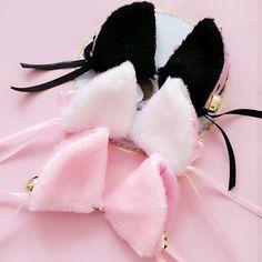 785df1d543f8d A pair of Japanese maid fuzzy cat ear hair clips SE7987. SANRENSE. Ear  HeadbandsNeko EarsCat EarsKawaii AccessoriesHair ...