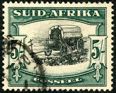 """Union of South Africa 1933 Scott 64 (SG green & black """"Ox Wagon"""" Photogravure; Die I Rare Stamps, Old Stamps, Vintage Stamps, Africa Symbol, Union Of South Africa, South Afrika, Protea Flower, My Childhood Memories, African History"""