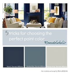 5 tricks for choosing the perfect paint color. Real-life tips for how to instany. 5 tricks for choosing the perfect paint color. Real-life tips for how to instanyly zone in on the perfect color for your space. The Creativity Exchange for Remodelaholic. Sherwin Williams Repose Gray, Room Colors, House Colors, Colours, Interior Paint, Interior Design, French Interior, Paint Color Schemes, Favorite Paint Colors