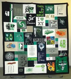 This is a fun graduation T-shirt quilt - the guy was not a three sport athlete, so the T-shirts reflected his various interests.