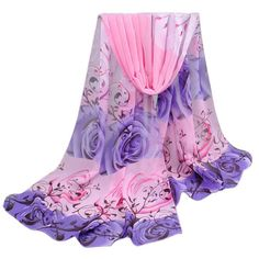 scarf nnatkn nanahtnhbi desigual chya Rose Pattern Chiffon Shawl Wrap Scarves free shipping 2016 sep12