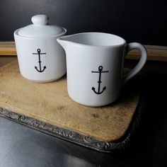 Ceramic Anchor Sugar and Creamer Set by BROOKLYNrehab available at Withal now. The place to get inspired goods by local makers. Coastal Style, Coastal Living, Nautical Kitchen, Nautical Dishes, Kitchen Pantry, Kitchen Stuff, Kitchen Gadgets, Kitchen Ideas, Cream And Sugar