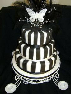 3 Tier Black White Wedding Cake with Topper
