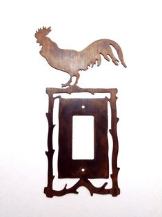 Rooster Light Switch Plate Cover Metal Rustic Americana Farm Decor Rusted Steel #unbranded