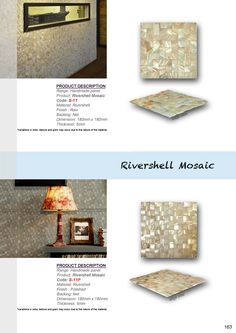 River Shell Mosaics add a distinctive and striking effect in any domestic or commercial design. Every Piece of mosaic is entirely unique, hand crafted from shells collected on the river bed and polished to highlight their subtle luminosity. These Mosaics offer one of the most dramatic and stunning effects.