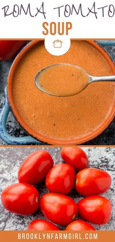 Creamy Tomato Soup using fresh roma plum tomatoes! This easy homemade recipe is perfect for when you are picking fresh tomatoes from the garden! You will never buy canned tomato soup again! Fresh Tomato Soup, Canned Tomato Soup, Plum Tomatoes, Roma Tomatoes, Roma Tomato Recipes, Freezing Fresh Herbs, Easy Homemade Recipes, Soups And Stews, Healthy Living