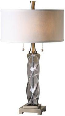 Uttermost Spirano Gray Glass Column 28 1/2-Inch-H Table Lamp