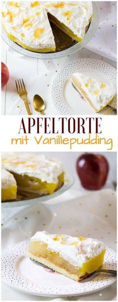 Schnelle Apfeltorte mit Vanillepudding #rezepte #apfelkuchen
