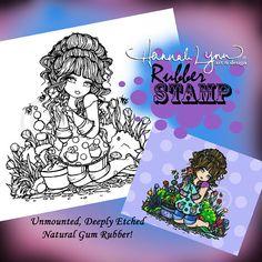 UM Rubber Garden Girl Stamp Fantasy Art Hannah by hannahlynnart, 7.99
