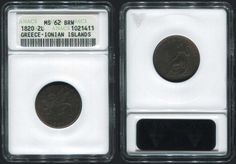 """2 Lepta.(1/2 Obol) (1820) with """"seated Britannia"""", in copper. Var. """"T"""" OF BRITTANIA IS DOUBLE STRUCK. small scratch above the date. In slab ..."""