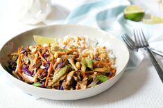 Yummy Thai Peanut Veggie Rice Bowls - Forks and Folly Vegetarian Rice Bowl Recipe, Veggie Rice Bowl, Rice Bowls, Vegetarian Recipes, Healthy Recipes, Rice Dishes, Asian Cooking, Healthy Cooking, Healthy Eating