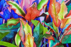 NEW! Art Original Watercolor Painting of  Tropical Hawaiian TI LEAVES Cluster