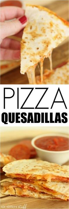 Quesadillas Our easy pizza quesadillas are the perfect kid-approved weeknight dinner!Our easy pizza quesadillas are the perfect kid-approved weeknight dinner! Mexican Food Recipes, Dinner Recipes, Little Lunch, Good Food, Yummy Food, Game Day Food, Kid Friendly Meals, Quick Meals, Gastronomia