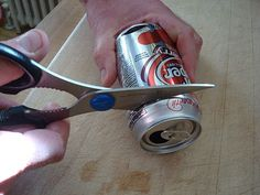 Prepare a soda can to be used for die cutting
